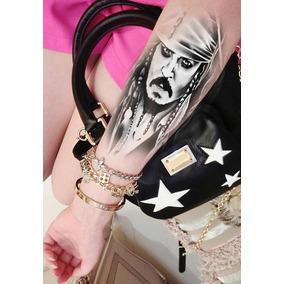 Tatuagem Grande Capitão Pirata Jack Sparrow (12x20cm)