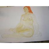 Desnudo De Juana Elena Diz, Mujer Apoyada 50 X 35.