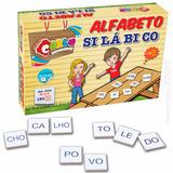 Jogo Brinquedo Educativo Pedagogico Madeira Alfabeto Silabas