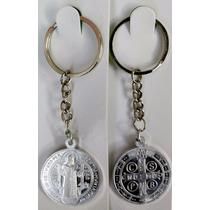 12 Llaveros Medalla De San Benito Aluminio Alto Relieve
