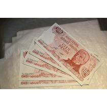 Lote 5 Billetes De 100 Pesos Ley 18188 Sin Circulacion