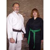 Karategi Dobok 1,60 A 1,80 Blanco Negro 10 Onzas