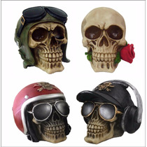 Kit 4 Cranio Caveira Aviador Halloween Bone Estatua Resina