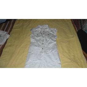 Vestido Blanco De Gabardina Elastizada Corte Jean