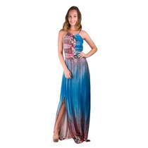 Vestido Banna Hanna Longo Visco Azelha Azul/rosa/laranja/rox