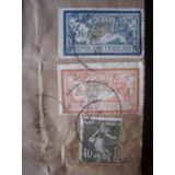 Antiguas Estampillas En Sobre Postal Francia Documento