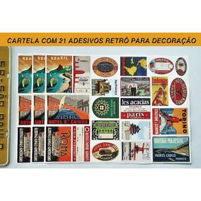 Cartela Com 21 Adesivos Retrô Para Decoração - Frete Gratis