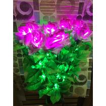 Rosas De Natal C/84 Leds Artificiais C/vaso Pisca