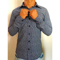 Camisa Masculina Estampada Floral Florida Azul Manga Longa