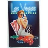 Placa Vintage Metal Importada 30x20 Las Vegas Marilyn V-048