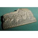 Antiguo Pin Prendedor Bronce Labrado Carreta Bueyes Criollo