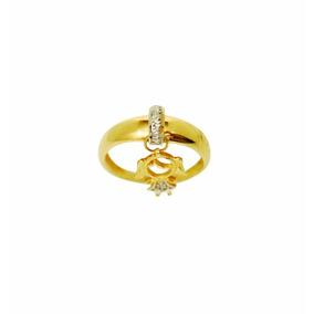 Anel Aliança Com Pingente Feminino De Ouro 18k A1449ela