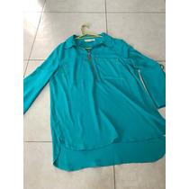Blusa Camisa Michael Kors M Logo Dorado Gasa Verde Transpare