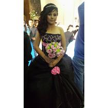 ¡hermoso Vestido De Xv Años Desmontable Color Negro Y Rosa!