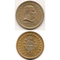 Moneda De Uruguay 10 Pesos Año 1965