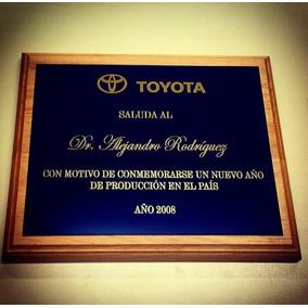 Placa Conmemorativa De Nogal C/bronce/alum Grabado 20cmx25cm