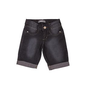 Bermuda Jeans Escura Juvenil Meninas Feminino Tam. 10 Ao 16