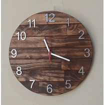 Relógio De Parede De Madeira Cor Ipê 30 Cm.