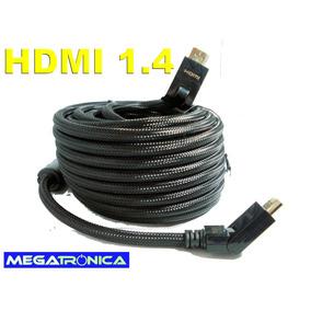 Cable Hdmi V 1.4 Led Ficha Punta Movil Oro 10 Mt Premiun 3d