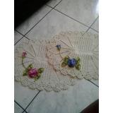 Conjunto Com 2 Tapetes De Barbante Com Flores Em Crochê