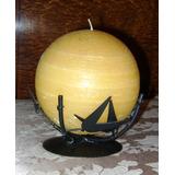Vela Esférica De Parafina Base Hierro Artístico Tipo Bambú