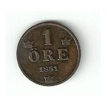 Suécia 1 Ore 1881 Bronze. Rara E Bela Moeda.