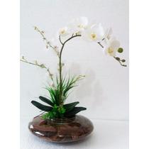 Arranjo De Orquídea Silicone Branca Vaso De Vidro Grande.