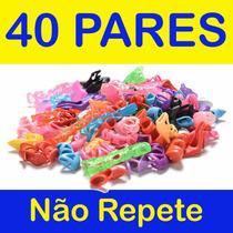 Kit Lote C/ 40 Pares De Sapatos Boneca Barbie Sem Repetição