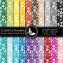 Kit Digital Editavel Scrapbook Festa Papeis Colorido Flores