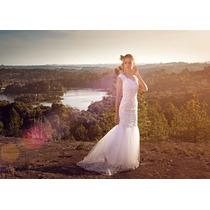 Vestido Noiva Tule Bordados De Renda Modelo Sereia - Legabo