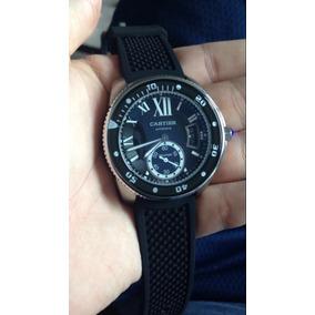 Reloj Cartier Plateado Con Correa Se Caucho