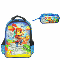 Kit Escolar Infantil Pixel Crash Mochila Costa Estojo Azul