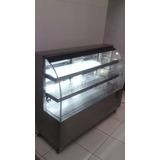 Balcão Expositor Refrigerado Aço Inox Escovado Vidro Curvo