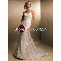 Vestido De Noiva Luxo - Sereia Renda Cauda Tomara Que Caia