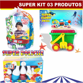 Super Kit - Jogo De Boliche + Bolsa C/ 334 Pçs + Super Carro