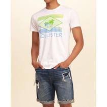 Camiseta Estampada Hollister Hombre Buzo Ropa Barata Playa