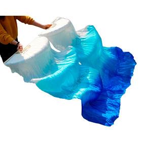 Par Véu Leque Dança Do Ventre Fan Veu Seda Azul Água