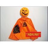 Disfraz Set De Calabaza Niños Capa Bolsita Careta Halloween