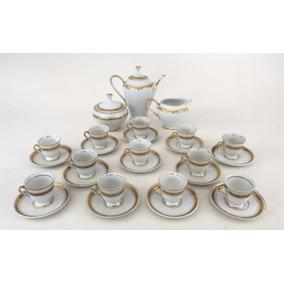 Antigo Conjunto De Café Porcelana Rico Em Ouro