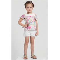 Conjunto Bata Mini Florais Shorts Renda Animê