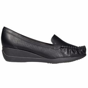 Zapato Mocasin Mujer Piccadilly Taco Chino Sintetico Negro