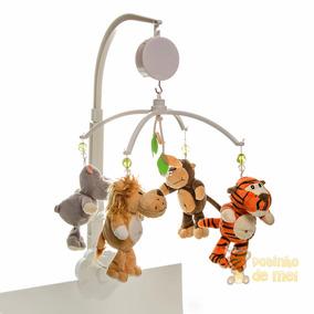 Móbile Musical Giratório Berço Bebê Safari Floresta Infantil