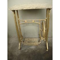 Antigo Pe Maquina De Costura Mesa Dourado Tampo Granito