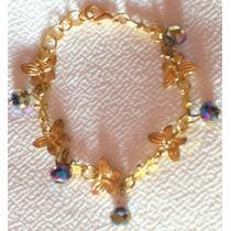Pulsera Cristal Cortado Mariposas Doradas 10 Mayo