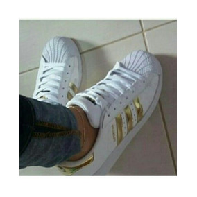 Tenis adidas Super Star Branco C/dourado N° 37