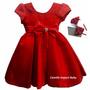 Vestido De Festa Luxo Moranguinho Infantil Com Tiara