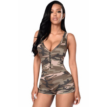 Sexy Teddy Romper Escote Verde Olivo Militar Table Dance