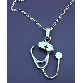 Cadena Y Dije Cruz Roja Estetoscopio Cofia Enfermera Plata