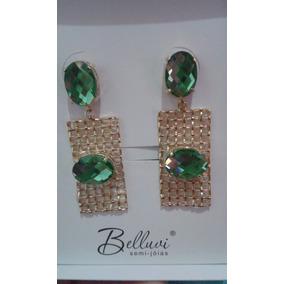 Brinco Dourado Pedra Natural Verde Semi Joia