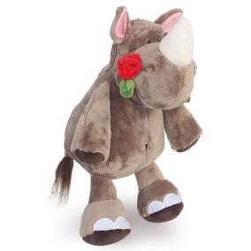 Rinoceronte De Pelúcia 35 Cm - Com Flor